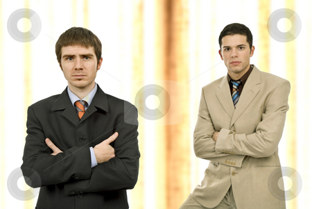 Team stock photo, Two young business men portrait, focus on the left man by Rui Vale de Sousa