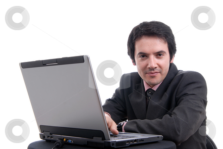 Laptop stock photo, Handsome young business man working with laptop by Rui Vale de Sousa
