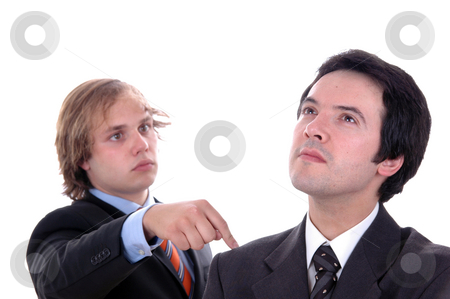 Male stock photo, Two young business men portrait on white. focus on the right man by Rui Vale de Sousa