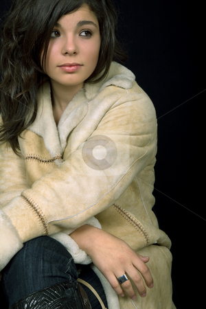 Woman stock photo, Young beautiful brunette portrait against black background by Rui Vale de Sousa