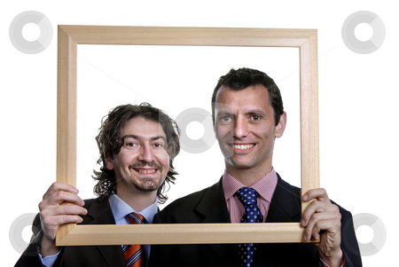 Frame stock photo, Two young business man portrait inside a frame by Rui Vale de Sousa