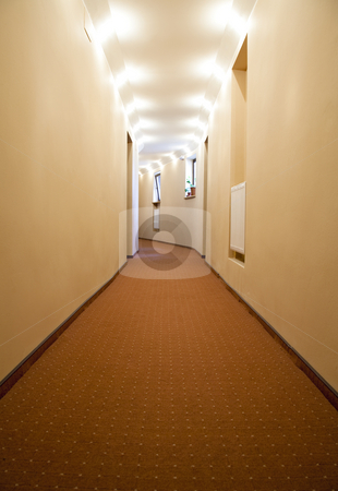 Hotel hall stock photo, Brown hall of a hotel with symmetrical lights path by Adrian Costea