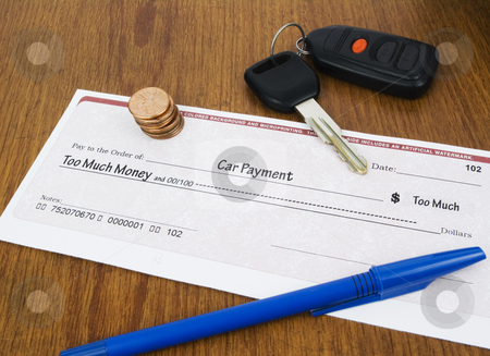Car Payment Concept stock photo, Car Payment too much check concept with keys by John Teeter