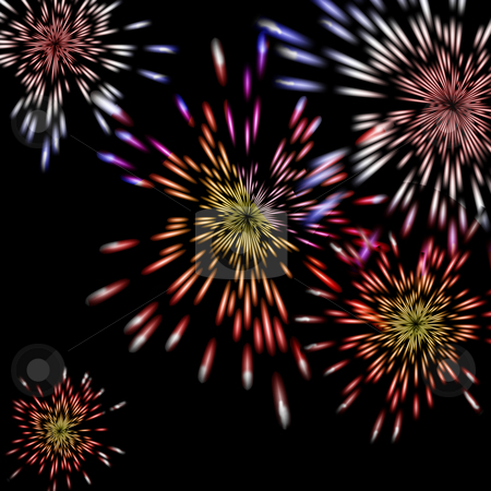 Fireworks bursting stock photo, Colorful fireworks burst in a display in a night sky. by Karen Carter