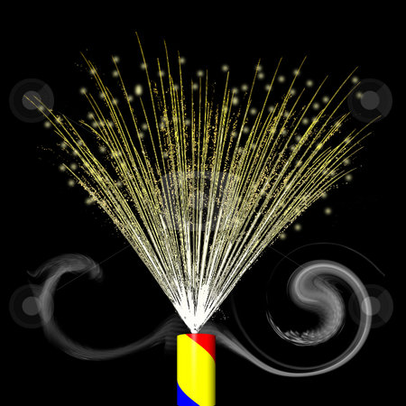 Firework streamer stock photo, A firework streamer exploding in a golden color display. by Karen Carter