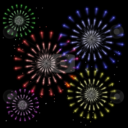Firework Flowers stock photo, Colorful fireworks explode in flower shapes in a night sky. by Karen Carter