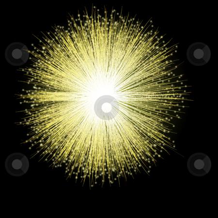 Golden Firework Blossom stock photo, A single firework bursts in a golden blossom against the night sky. by Karen Carter