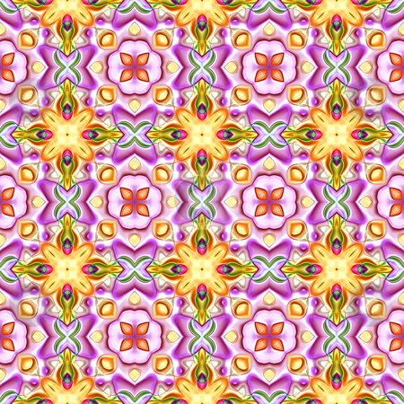 Fairy tale pattern stock photo, Seamless texture of repeating fantasy shapes in yellow and pink by Wino Evertz