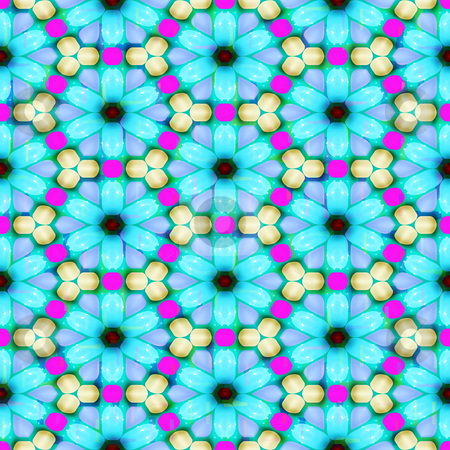 Festive flower pattern stock photo, Seamless texture of abstracted pastel blue flowers by Wino Evertz