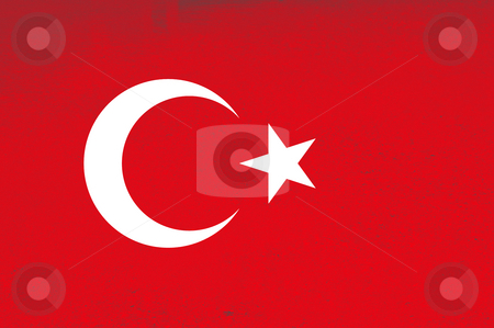 Flag stock photo, Turkey red and white flag illustration, computer generated by Rui Vale de Sousa