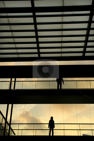 Modern stock photo, People in the modern buildind at sunset by Rui Vale de Sousa