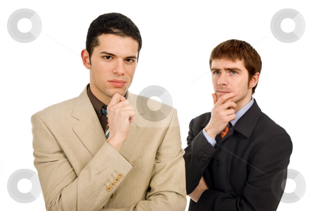 Thoughts stock photo, Two young business men portrait on white, focus on the left man by Rui Vale de Sousa