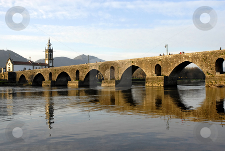 Ponte de lima stock photo, Bridge and church of Ponte de Lima in Portugal by Rui Vale de Sousa