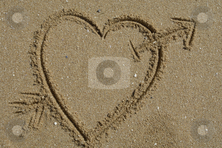 Love stock photo, Love message, an heart draw in the sand by Rui Vale de Sousa