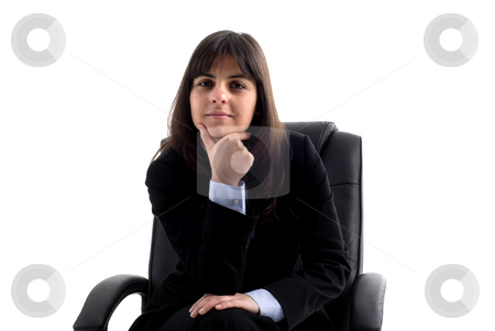 Woman stock photo, Young business woman portrait in white background by Rui Vale de Sousa