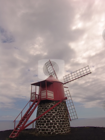 Windmill stock photo, Azores ancient windmill by Rui Vale de Sousa