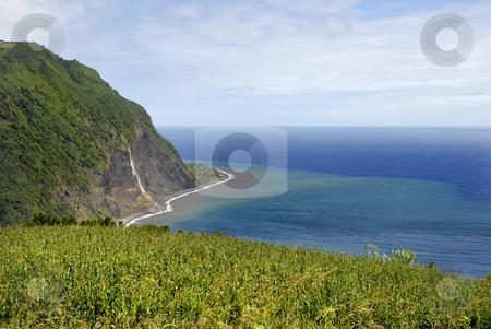 Coast stock photo, Azores coastal fields at sao miguel island by Rui Vale de Sousa