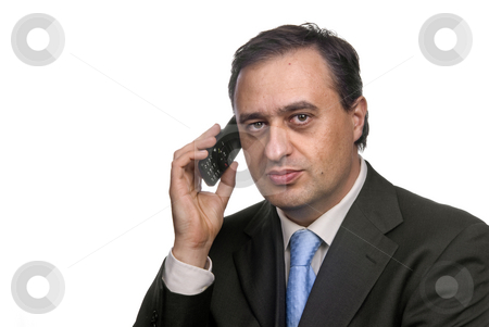 Calling stock photo, Business man on the phone in white background by Rui Vale de Sousa