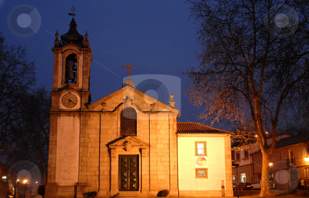 Church stock photo, Portuguese roman church with lights at the night by Rui Vale de Sousa