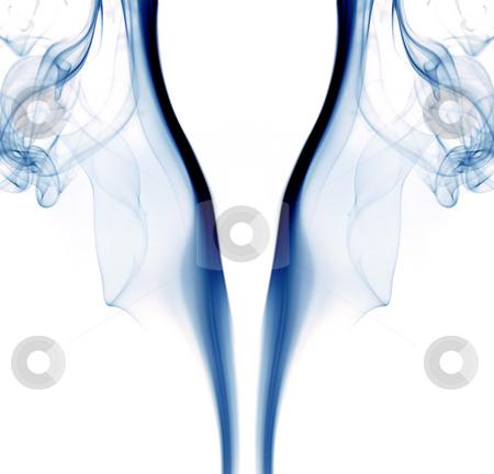Smoke stock photo, Blue abstract smoke in a white background by Rui Vale de Sousa