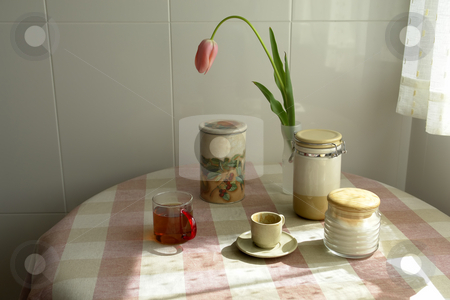 Table stock photo, Coffee and a tulip at home by Rui Vale de Sousa