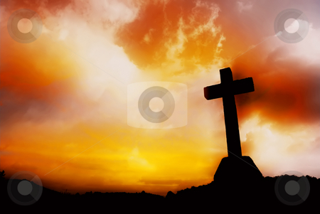 Almighty stock photo, Cross silhouette and the clouds at sunset by Rui Vale de Sousa