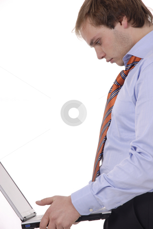 Worker stock photo, Man working with computer in a white background by Rui Vale de Sousa