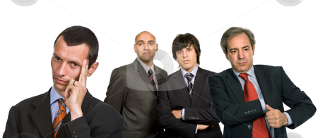 Team stock photo, Four business man isolated on white background by Rui Vale de Sousa