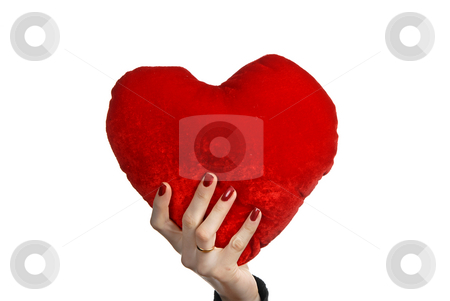 Heart stock photo, Red heart in a woman hand, isolated on white by Rui Vale de Sousa