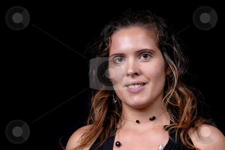 Girl stock photo, Young model woman portrait on black background by Rui Vale de Sousa