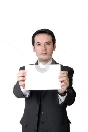 Card stock photo, Business man with an empty white card by Rui Vale de Sousa