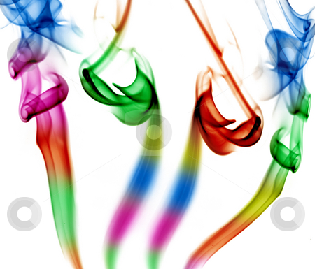 Smoke stock photo, Abstract colored smoke in white background by Rui Vale de Sousa