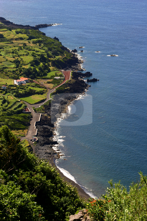 Village stock photo, Azores village coast by Rui Vale de Sousa