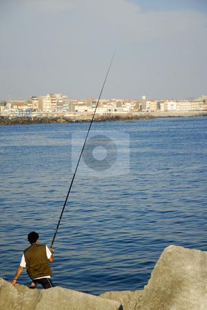 Fisherman stock photo, Fisherman at the sea by Rui Vale de Sousa