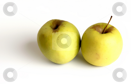 Apples stock photo, Two yellow apples in a white background by Rui Vale de Sousa
