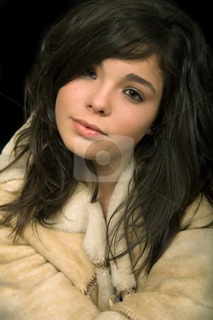 Close stock photo, Young beautiful brunette portrait against black background by Rui Vale de Sousa