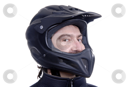Motors stock photo, Young man with a motorcycle black helmet by Rui Vale de Sousa