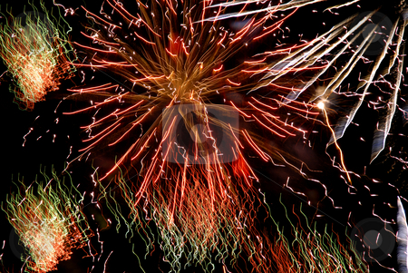 Colors stock photo, Abstract colored fireworks in the dark night by Rui Vale de Sousa