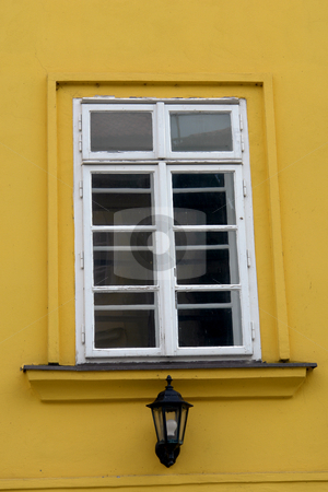 Window stock photo, Architecture details of prague, white window on yellow wall by Rui Vale de Sousa