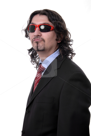 Sunglasses stock photo, Silly young business man isolated on white by Rui Vale de Sousa