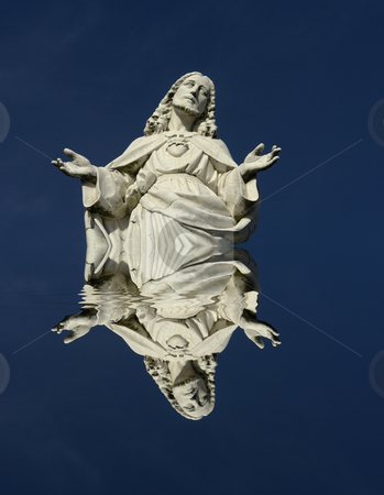 Christ stock photo, White christ statue detail with water reflection by Rui Vale de Sousa
