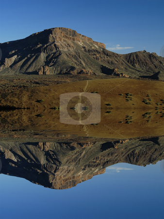 Mountains stock photo, Arid african mountain landscape with digital water reflection by Rui Vale de Sousa