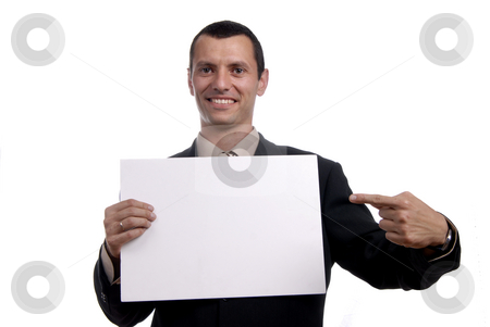 Empty card stock photo, Business man with an empty white card by Rui Vale de Sousa
