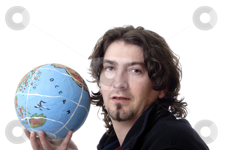Hold stock photo, Young man holding the world in his hand by Rui Vale de Sousa