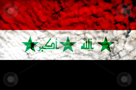 Iraq stock photo, Iraque flag illustration among clouds, computer generated by Rui Vale de Sousa
