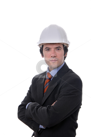 Engineer stock photo, An engineer with white hat, isolated on white by Rui Vale de Sousa