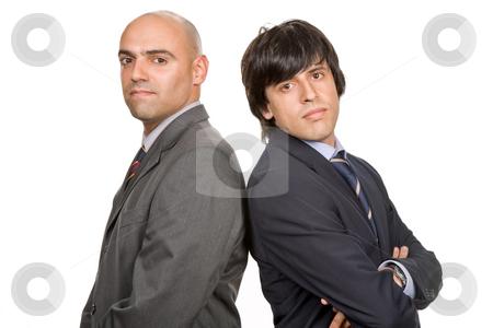 Two men stock photo, Two young business men portrait on white by Rui Vale de Sousa