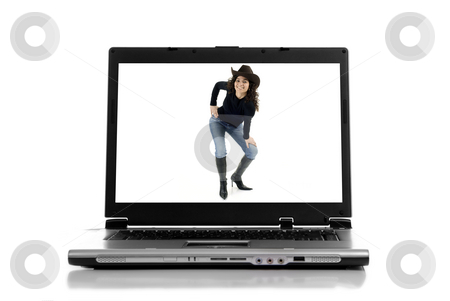 Laptop stock photo, A personal computer with a girl, isolated on white background by Rui Vale de Sousa