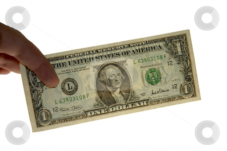 Dollar stock photo, One dollar in the hand in white background by Rui Vale de Sousa