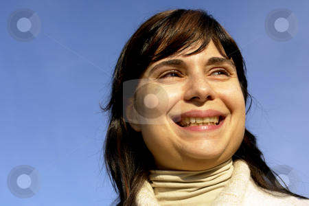 Portrait stock photo, Woman portrait with the sky as background by Rui Vale de Sousa